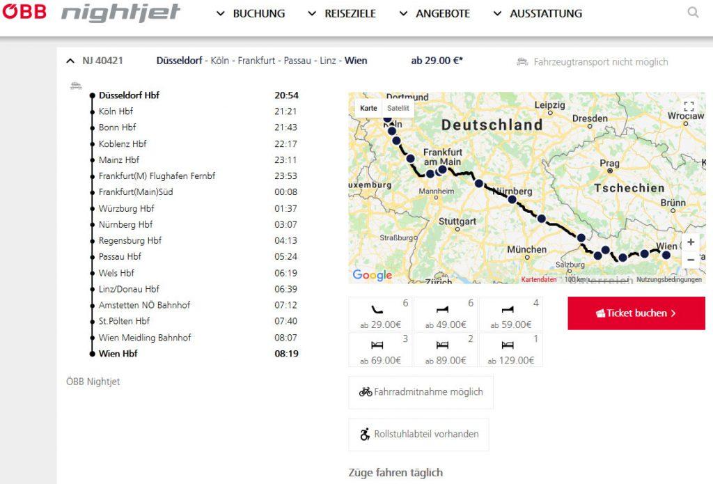 オーストリア鉄道ナイトジェット